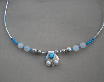 Artisan Original design sterling and turquoise necklace