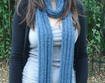 Soft Blue Ribbed Scarf
