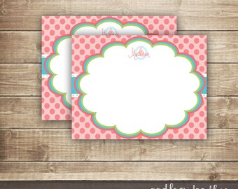 Children's Personal Stationery / Girl's Personalized Polka Dots Note Card / Pink & Turquoise Thank You Note Card - Printable