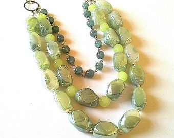 Moss green necklace OOAK, Statement necklace,Green statement necklace,Three strand unique necklace, Jade beaded necklace,light green jewelry