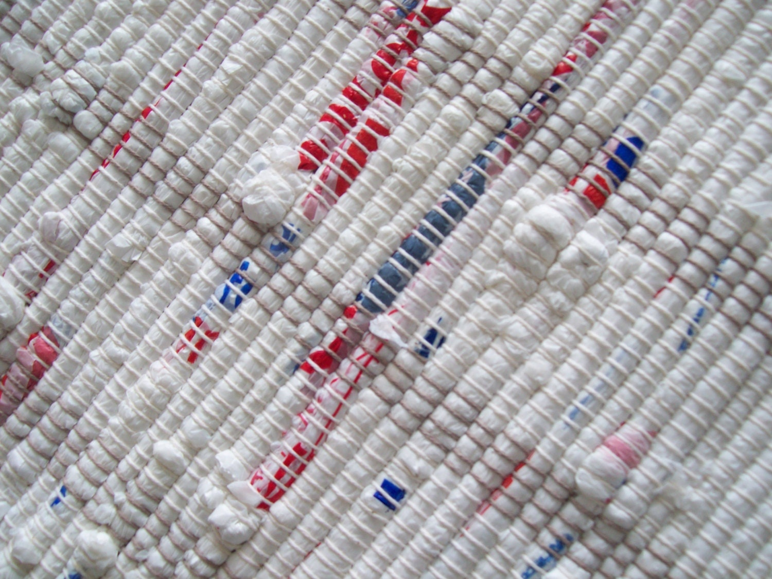 Red White And Blue Rug Loom Woven Rag Rug Camping Rug