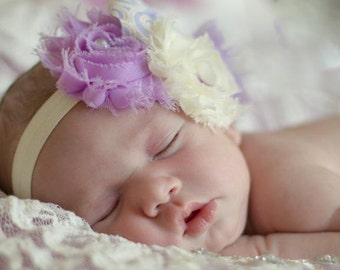 Baby Girl Headbands... Baby Headband...Lavender and Ivory Bow Flower Headband... Baby Bow Headband... Newborn Headband