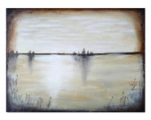 Serene Lake Painting Original Landscape Art Textured Painting Brown and White Painting - KatrinaRaeArt
