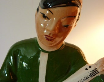 California Potteries Asian Chinese Man Playing Instrument Large Statue