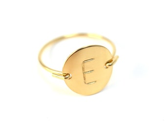 Gold Initial Ring Personalized Ring Letter Ring Monogram Ring Gold or Silver