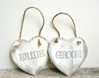 Bride and Groom Chair Signs, Wedding Photo Props, Rustic Wedding Decor, The Paper Walrus
