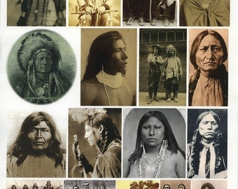 Collage Sheet - Indigenous Peoples - Collage, Mixed Media, ATCs