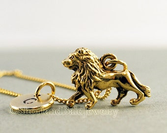 Lion necklace, Gold lion necklace, Lion charm pendant, Lion charm jewelry, initial necklace, initial hand stamped, personalized, monogram