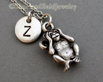 Hear no evil monkey, Three Monkeys Necklace, three wise monkeys, initial necklace, Personalized, antique silver, monogram