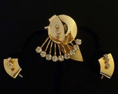 Rhinestone SALE Vintage 1950's Rhinestone Brooch & Earring Set - ECS