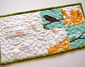 Psalm 91: 4 scripture mini quilt, quilted mug rug, mug mat, made to order