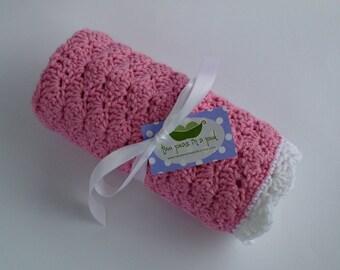 Baby Blanket - Crocheted Baby Blanket - Stroller/Car seat Size - Pink - Baby Girl Blanket