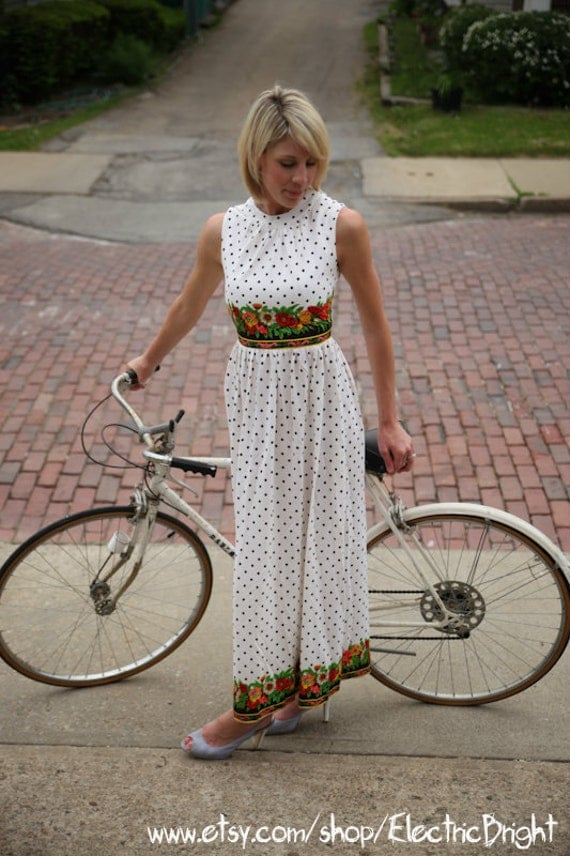 Vintage Black and White Polkadot Gown with Secret Garden Bust