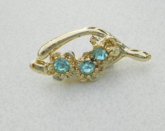 Vintage Wishbone pin aquamarine glass silver metal 1960s vintage brooch