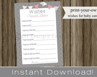Baby Shower Wishes for Baby girl gray and pink INSTANT DOWNLOAD diy digital printable file print your own , babyshower, baby shower idea