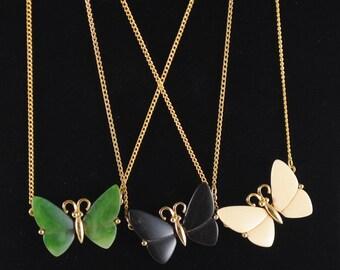 Butterfly Necklace Vintage Medium Sized Butterfly Pendant 1960s