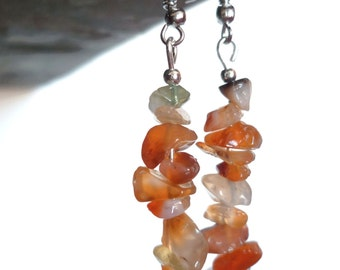 Orange quartz dangling earrings, handmade