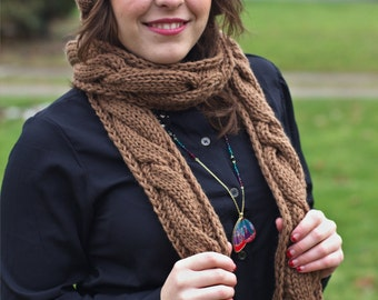 Chunky Scarf, Knit with Cables in a Warm Tan