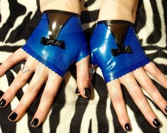 Blue Dream fingerless latex gloves