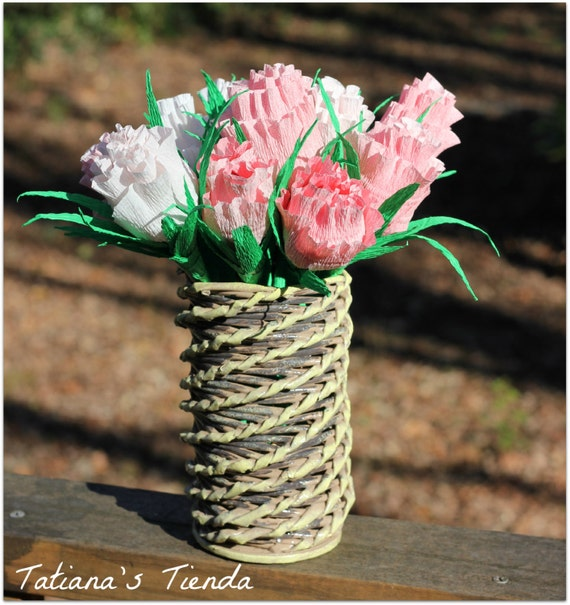 Wicker 3D Vase Made From Paper, Decoration, Vintage Style, Perfect Gift Idea