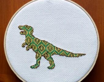 T-Rex Cross Stitch Pattern, Digital Download PDF