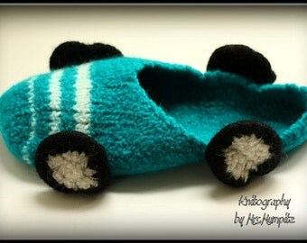 Felted Racing Car Slippers size EU 41/43 - knitted and felted from 100% wool