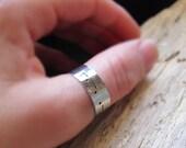 Morse Code Ring. Custom Personalized Adjustable Band Ring for Men, Women - Name Ring / Secret word Ring / Custom Silver Ring / Gift for Him