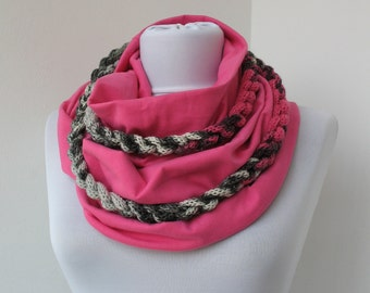 30% OFF SALE - Pink Set - Jersey Cotton Fabric Circle Scarf & Knit Scarflette/Necklace - Infinity Scarf - Loop Scarf - 367