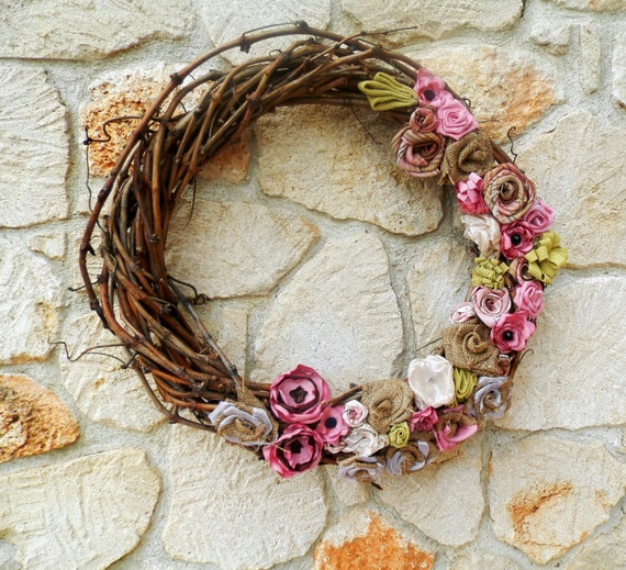 Rustic burlap grapevine wreath, spring wreath, ready for ship