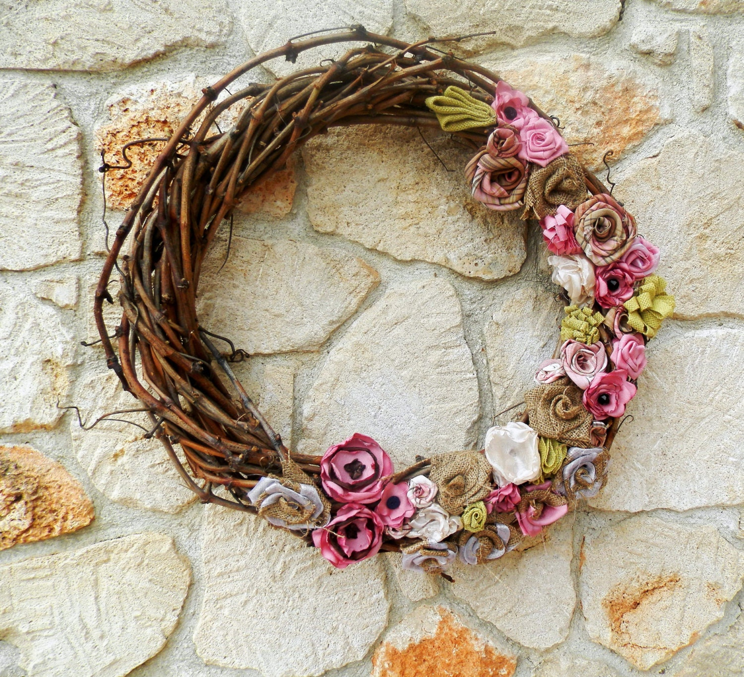 Large Rustic 18 burlap grapevine wreath spring by TheNewHome