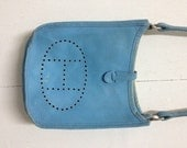 Hermes Paris Made In France Authentic Vtg Blue Leather Handbag Hermès bag