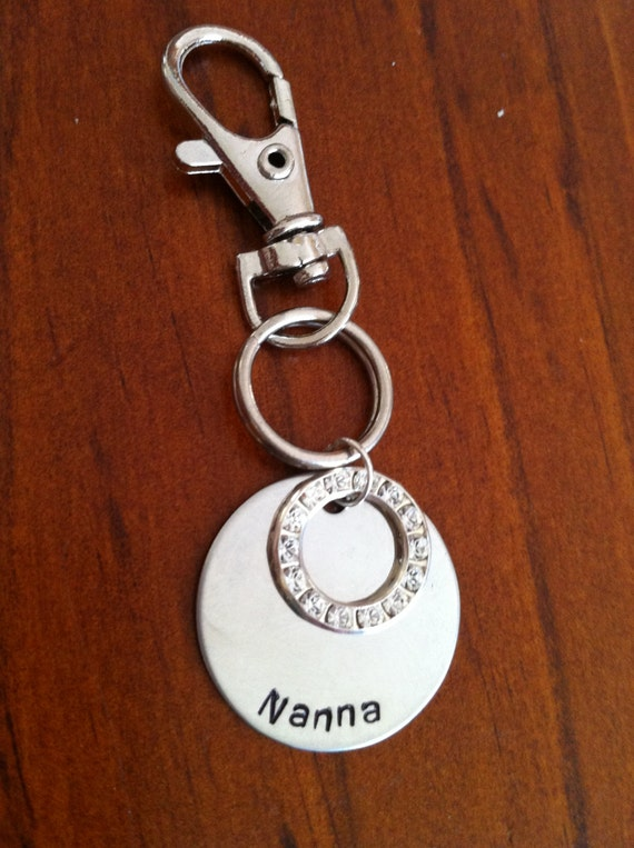 Key Chain- Hand Stamped Stainless Steel Disc with Swarovski Crystal Circle.