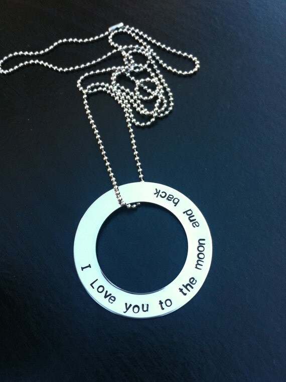 Hand Stamped Stainless Steel Necklace 'I love you to the moon and back'