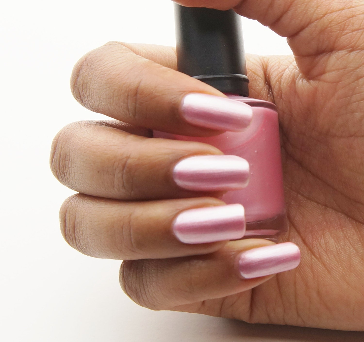 Black Skin Natural Pink Nail Colour