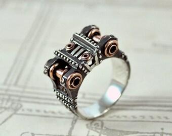 "Sterling Silver Steampunk Ring ""Peragemus"" | Industrial Sterling Silver Ring | Unique Man's Sterling Silver Ring"
