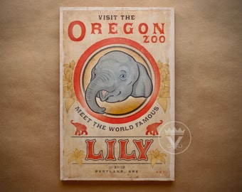 The Famous Lily - Wood Print - Asian Elephant Visit Oregon Zoo Baby Animal Portland Tourism Gift Wall Artwork Retro Vintage Circus Style