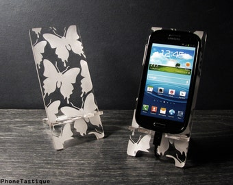 Acrylic Butterflies Samsung Galaxy S5 S4 S3 Android Phone Stand Docking Station Butterfly Pattern