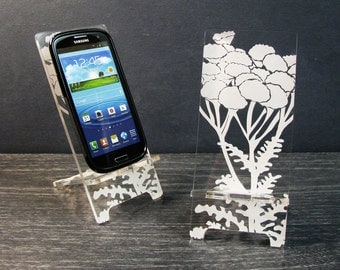 Acrylic Floral Samsung Galaxy S5 S4 S3 Android Cell Phone Stand Docking Station Mobile Phone Stand  Pod Flowers