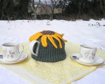 Summer in Provence hand knitted tea cosy with sunflower decoration