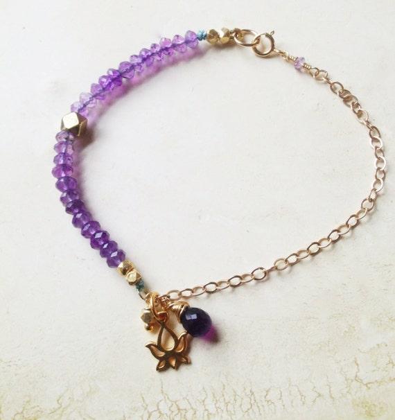 Amethyst Gemstone Bracelet  Gold Lotus Charm , Crown Chakra Bracelet, YogaJewelry  February Birthstone , minimalist Amethyst Bracelet