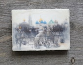 Original encaustic wall art. Encaustic Russian Winter Photography. Ancient architecture. Winter landscape. Kremlin. 5x7