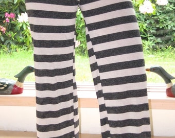 black white striped  yoga beach festival resort dance lounge pirate pants with fold down waist or drawstring waist