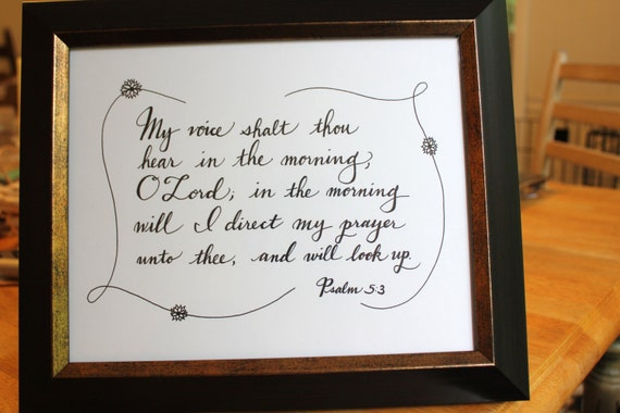 Items similar to calligraphy script of bible verse psalm
