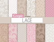 "Lace digital paper: ""LACE"" with pink and brown vintage lace patterns for scrapbooking, invites, cards"