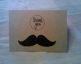 """SALE** 10 Mustache """"Thank You"""" cards"""