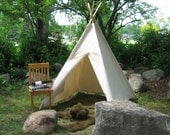 Canvas Teepee Tent, Kids Tent, Play Tent, 14 Canvas Color Choices, Custom Order, 6 Foot Poles Included