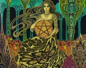 Queen of Pentacles Tarot Art 8x10 Print Pagan Mythology Psychedelic Gypsy Witch Goddess Art