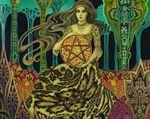 Queen of Pentacles Tarot Goddess Art ACEO Mini Print Altar Art