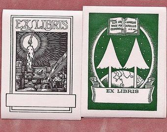 Vintage Bookplates (4) Unused Collectible Paper Ephemera Trees Green Candle Plume Pen More Available
