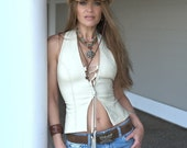 Heaven Leather Halter Top | Sexy Biker Motorcycle Leather Clothing | Boho Leather Top | Women's Western Vest | Stage Wear | Festival Shirt